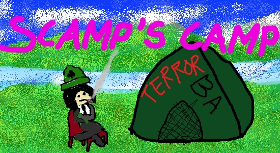 A drawing of SCAMP and his Irish camp-setting tendencies.