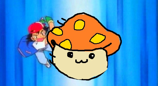 A picture of Ash throwing a, wait for it... MUSHROOM! POKÉMON! A MUSHY-MON!
