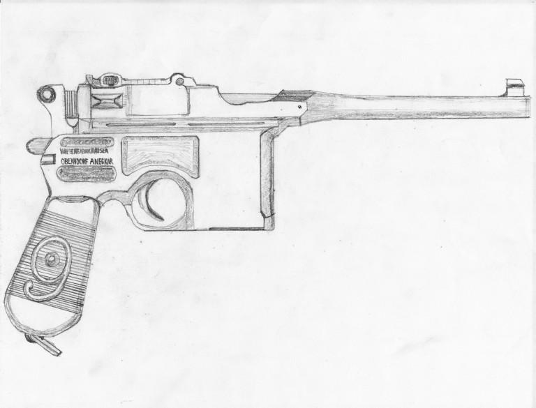A sketch of a Mauser C96.